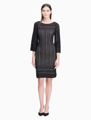 Calvin Klein perforated 3/4 sleeve sweater dress
