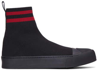 Neil Barrett Black Sock Skater Mid Sneakers