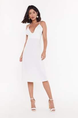 Nasty Gal Deep an Open Mind Plunging Linen Dress