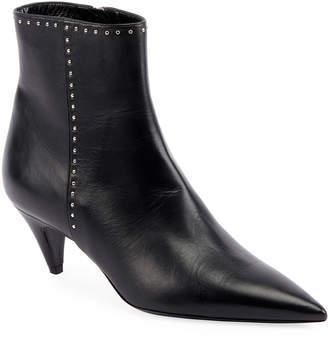 Saint Laurent Charlotte Studded Leather Booties