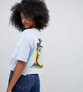 Crooked Tongues oversized cropped t-shirt in blue with banana print