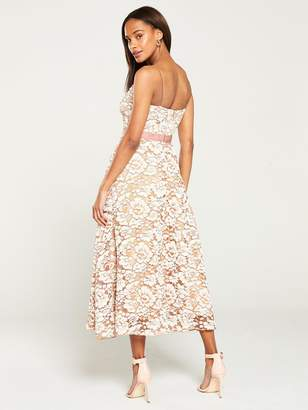64ad434aa5 Forever Unique U Collection Floral Lace A-line Midi Dress - Nude/Ivory