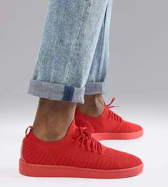 Pull&Bear knitted sneaker in red