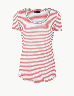 Marks and Spencer Cotton Rich Striped Regular Fit T-Shirt