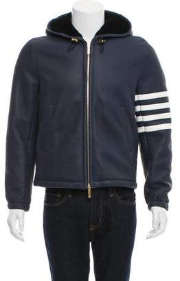 Thom Browne 4 Bar-Striped Leather Jacket w/ Tags