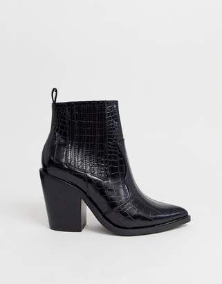 Asos Design DESIGN Elliot western boots in black croc