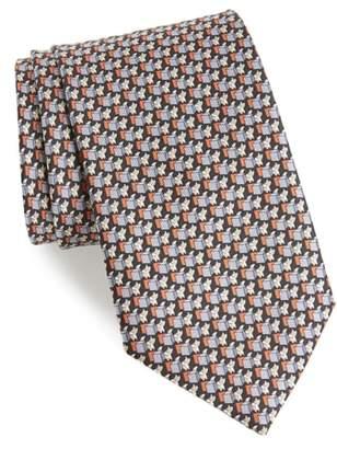 Salvatore Ferragamo Fox Print Silk Tie