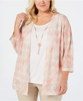 Alfred Dunner Plus Size Good To Go Layered-Look Necklace Top