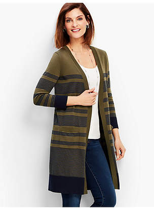 Talbots Long Pima Cotton Stripe Cardigan