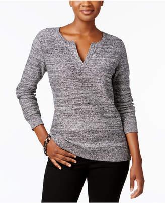 Karen Scott Cotton Split-Neck Sweater