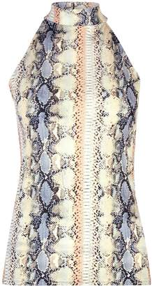 Dorothy Perkins Womens L Snake Print Halter Neck Top