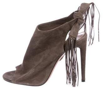 Aquazzura Suede Peep-Toe Booties