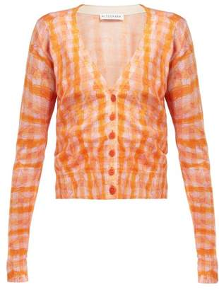 Altuzarra Natalia Gingham Silk And Cotton Blend Cardigan - Womens - Orange Multi