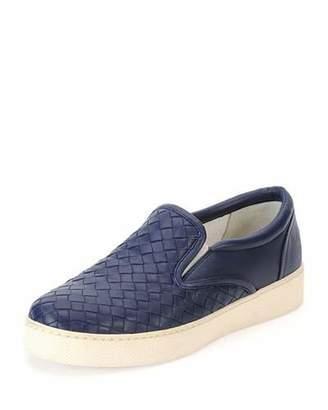 Bottega Veneta Napa Intrecciato Woven Skate Sneaker, Atlantic Blue $680 thestylecure.com