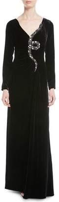 Valentino Long-Sleeve Velvet Gown w/ Embellished Snake