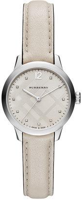 Burberry Women's Swiss Diamond Accent White Leather Strap Watch 32mm BU10105 $995 thestylecure.com