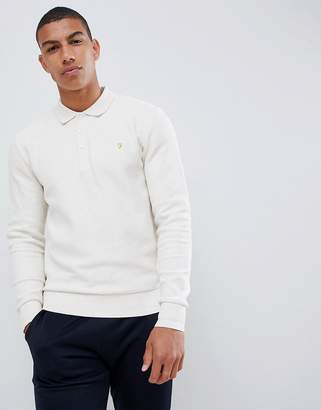 Farah Pinker knitted long sleeve polo in gray