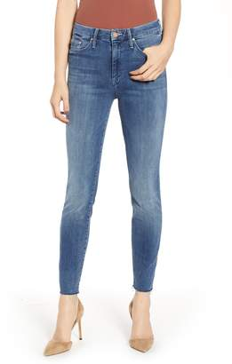 Mother The Looker Frayed High Waist Ankle Skinny Jeans