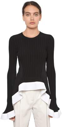 Esteban Cortazar Draped Ribbed Knit Top