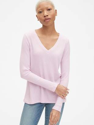 Gap Softspun Ribbed Long Sleeve V-Neck T-Shirt