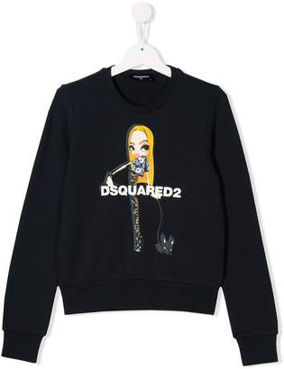 DSQUARED2 TEEN girl print sweatshirt