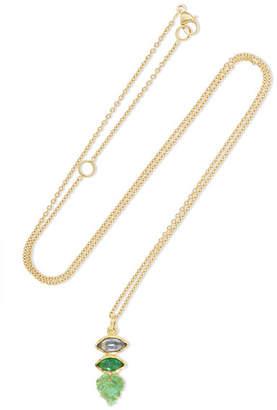 Brooke Gregson Maya Leaf 18-karat Gold, Sapphire And Emerald Necklace
