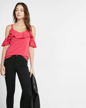 Express Ruffle Overlay Cold Shoulder Blouse