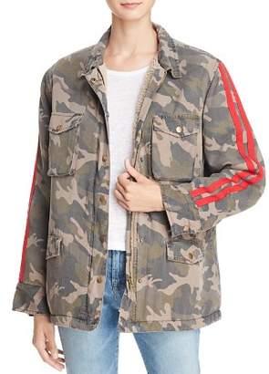 Vintage Havana Faux Fur-Lined Track Stripe Camo Jacket