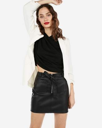 Express High Waisted (Minus The) Leather Patch Pocket Mini Skirt