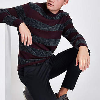River Island Purple stripe slim fit chenille knit sweater