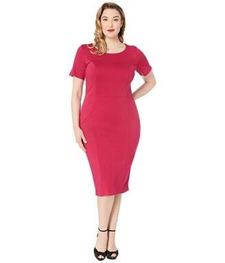 Unique Vintage Plus Size 1960s Short Sleeve Stretch Mod Wiggle Dress