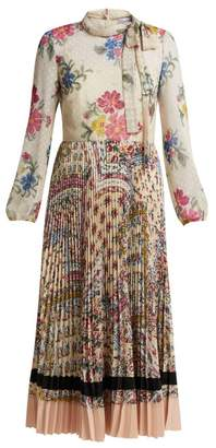 RED Valentino Pleated Floral Print Chiffon And Crepe Dress - Womens - Cream Multi