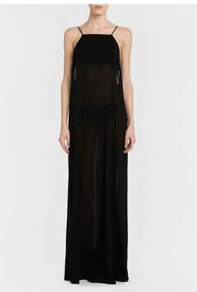 La Perla Aqua Drapes Cotton Silk Maxi Dress