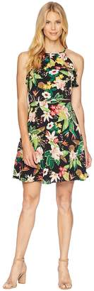 London Times Printed Crepon Fit Flare Dress Women's Dress