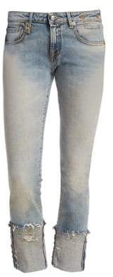 R 13 Kate Skinny Frayed Cuff Light Wash Jeans