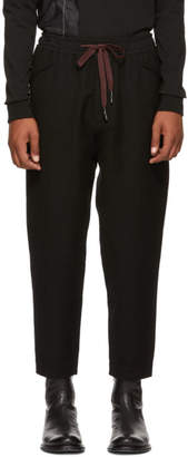 Ziggy Chen Black Wool Drawstring Lounge Pants