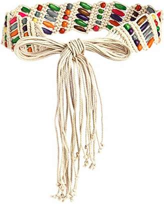 Silver Urbanism Women's Boho Wax Beads Fashion Belt Mix Color ()