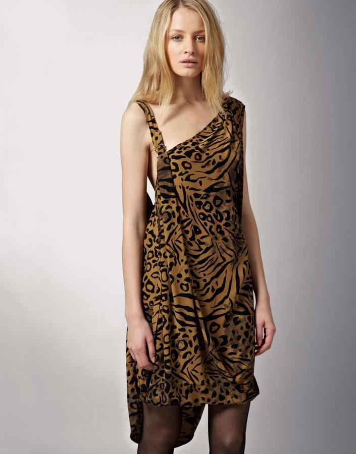 Shakuhachi Tan Animal Asymmetric Clip Dress