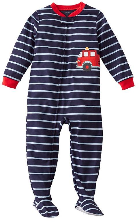 Carter's striped fire truck footed pajamas - toddler