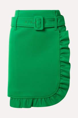 Prada Belted Ruffled Tech-jersey Mini Skirt - Green