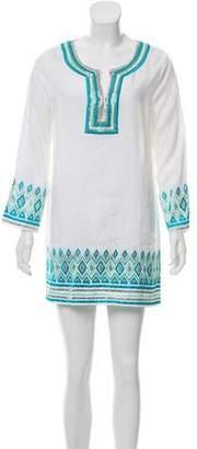 Calypso Embroidered Mini Kaftan Dress