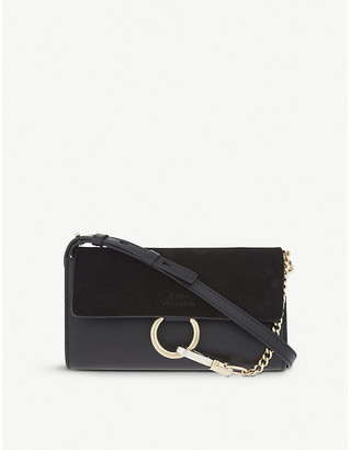 Chloé Faye leather & suede clutch