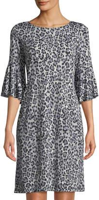 Neiman Marcus Leopard-Print Bell-Sleeve Jersey Dress