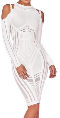 UONBOX Women s Sexy Cold Shoulder Long Sleeves Night Club Strappy Mesh Bandage  Dress (L 737bdb3ad