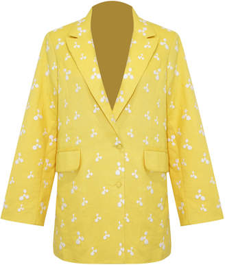 All Things Mochi Iris Linen Embroidered Blazer