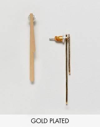 Pilgrim gold plated double bar earrings