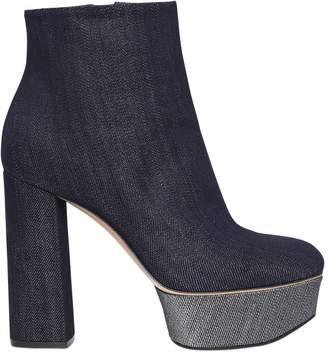 Casadei 120mm Glitter Effect Denim Ankle Boots