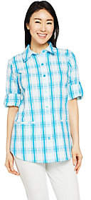 Joan Rivers Classics Collection Joan Rivers Two Toned Plaid SeersuckerBoyfriend Shirt