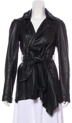 AllSaints Leather Asymmetrical Coat