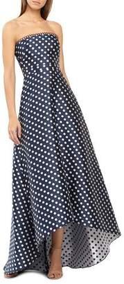 ML Monique Lhuillier Strapless Polka-Dot High-Low Dress